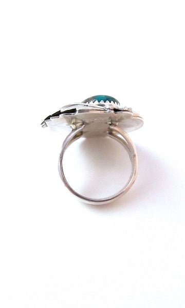 FEATHERED FRIEND 1970s Sterling Silver & Turquoise Statement Ring, Sz 7 1/2