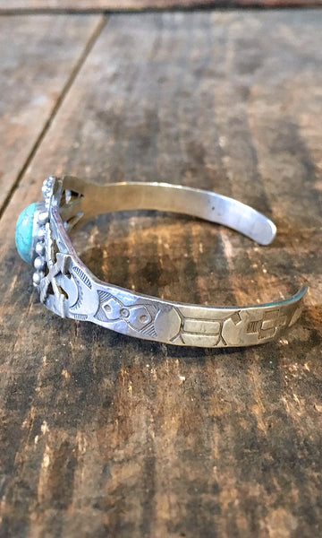FRIENDSHIP ARROWS 1940s Sterling Silver & Turquoise Cuff