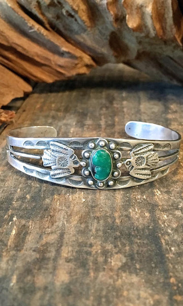 FRED HARVEY ERA 1940s Native American Silver & Turquoise Thunderbird Bracelet