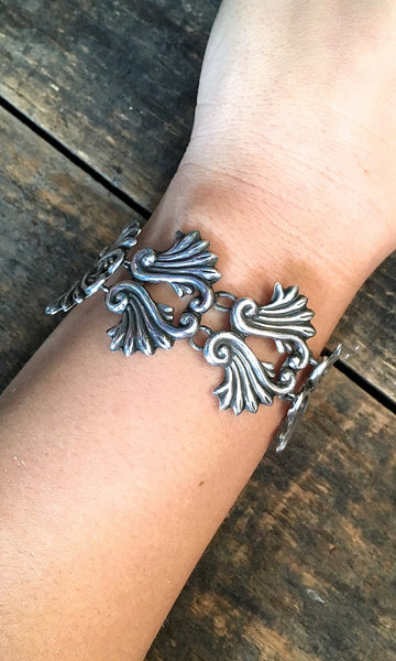 OLD MEXICO 1950s Mexican Sterling Silver Fern Design Link Bracelet
