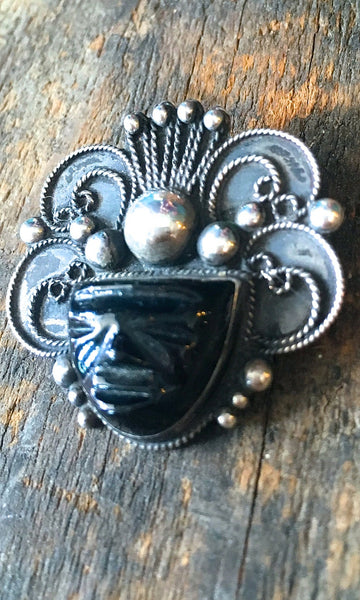 ABOUT FACE 1950s Silver and Onyx Aztec or Mayan Warrior Pin with Headdress
