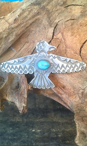THUNDERBIRD 1940s Sterling Silver and Turquoise Bird Pin