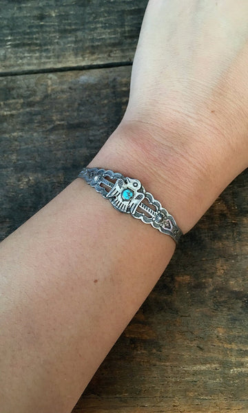 FRED HARVEY ERA 1940s Navajo Style Silver & Turquoise Thunderbird Cuff