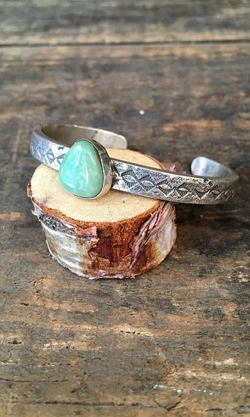 SMALL N STURDY Vintage Silver and Green Turquoise Cuff
