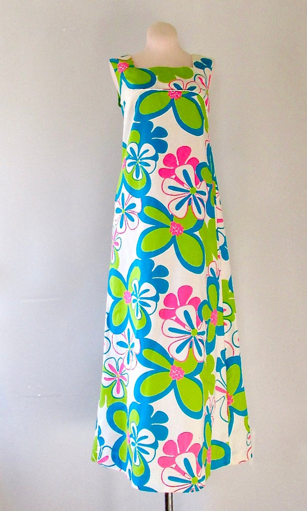FLOWER POWER 1960s Psychedelic Fluorescent Hawaiian Floral Print Dress, Sz X-Small