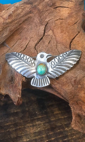 FRED HARVEY ERA 1940s Silver and Turquoise Thunderbird Pin