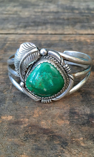 FALLING FEATHER 1970s Silver & Turquoise Cuff