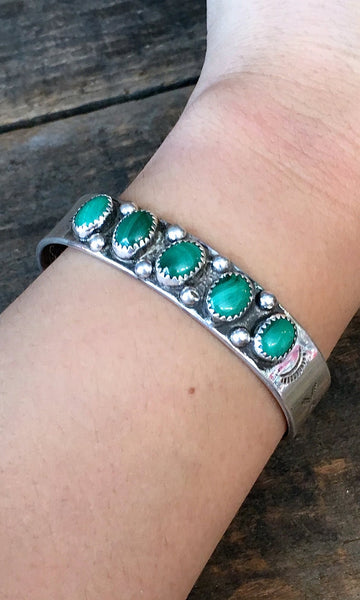 GOING GREEN 1940s Sterling Silver & Malachite Cuff