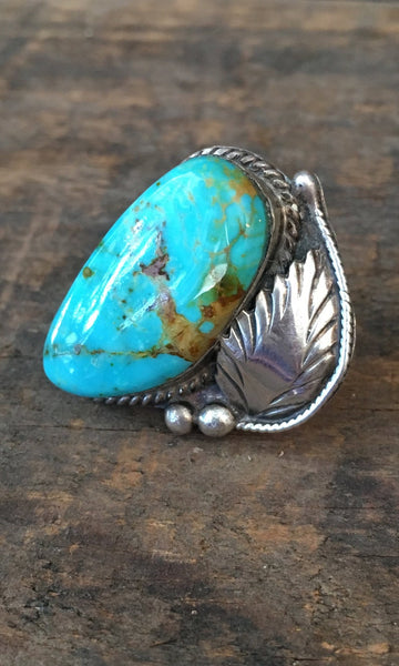 RING IT ON 1950s Silver Feather and Turquoise, Sz 5