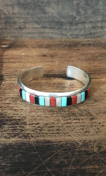 EL GASPER Zuni Turquoise, Mother of Pearl, Jet Coral Inlay Cuff