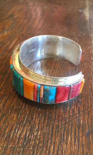 STONE IN LOVE Harold Smith Silver Cuff with Turquoise and Spiny Oyster Inlay