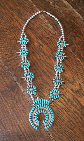 PAM BENALLY Silver & Turquoise Petit Point Cluster Squash Blossom Necklace