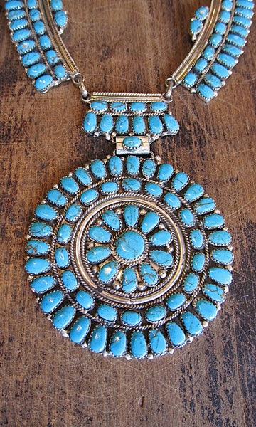 JULIANS WILLIAMS JW Navajo Petit Point Silver & Turquoise Cluster Necklace