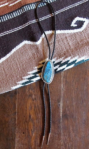 TURQUOISE ROCKS Vintage Large Turquoise & Sterling Silver Bolo Tie