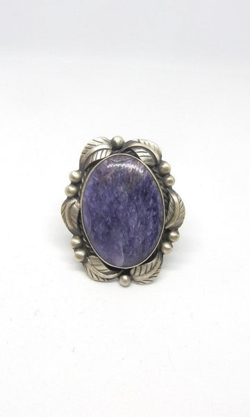 PURPLE REIGN Betta Lee Large Charoite & Sterling Silver Ring, Sz 10