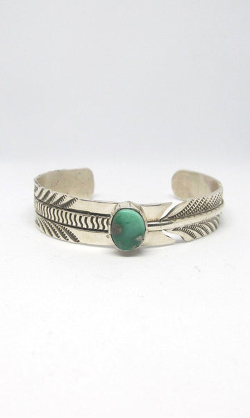 FEATHERED FRIEND Rick Enriquez Silver & Turquoise Navajo Cuff