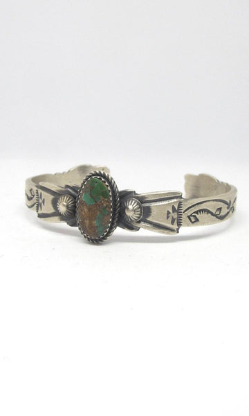 NATIVE BEAUTY Sandcast Sterling Silver & Turquoise Cuff by Martha Cayatineto