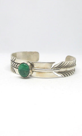 RICK ENRIQUEZ RE Silver Feather & Turquoise Navajo Cuff