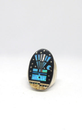 STARRY NIGHT Gilbert Smith Silver S Inlay Yei Kachina Mens Ring, Sz 11 1/2