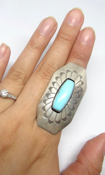 RUNNING BEAR Navajo Turquoise & Sterling Silver Statement Ring, Sz 6
