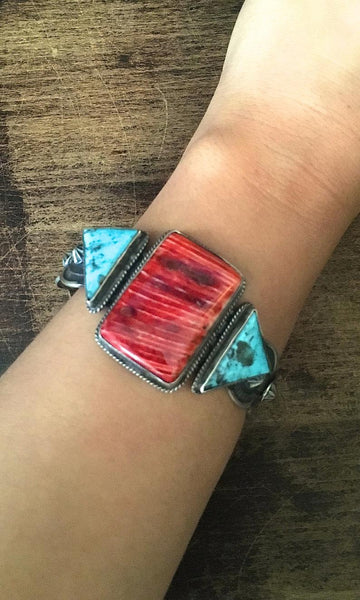 CHIMNEY BUTTE Navajo Silver Spiny Oyster and Turquoise Cuff