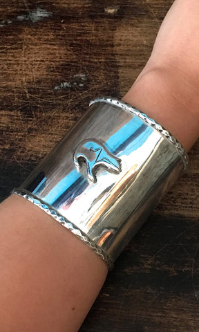 HEARTLINE 90s Large Statement Silver Cuff with Bear Fetish