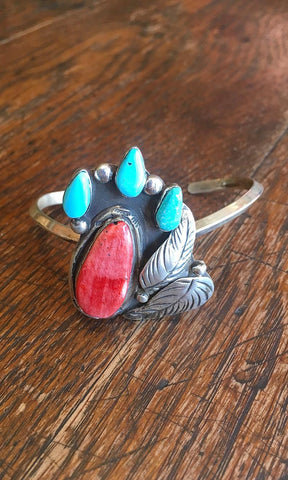 INDIAN SUMMER FB Sterling Silver, Spiny Oyster, and Turquoise Cuff