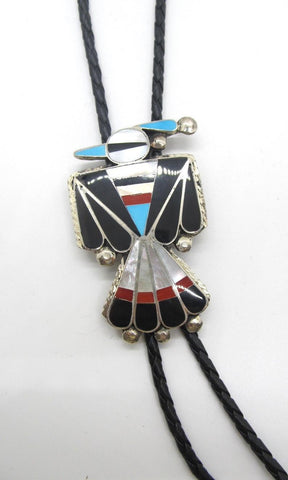 RENEWAL OF LIFE D Cellicion Zuni Peyote Bird Bolo Tie with Sterling Silver and Turquoise Jet Coral & MOP Inlay
