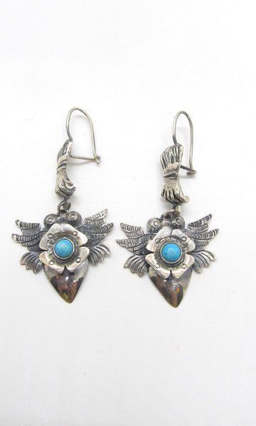 FEDERICO JIMENEZ Frida Kahlo Style Silver & Turquoise Mexican Earrings