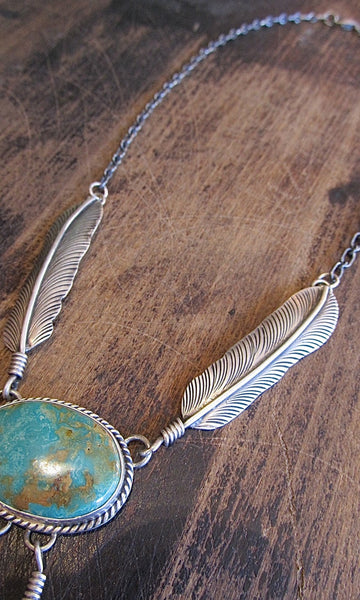 FEATHERED FREIND Navajo Silver & Royston Turquoise Necklace