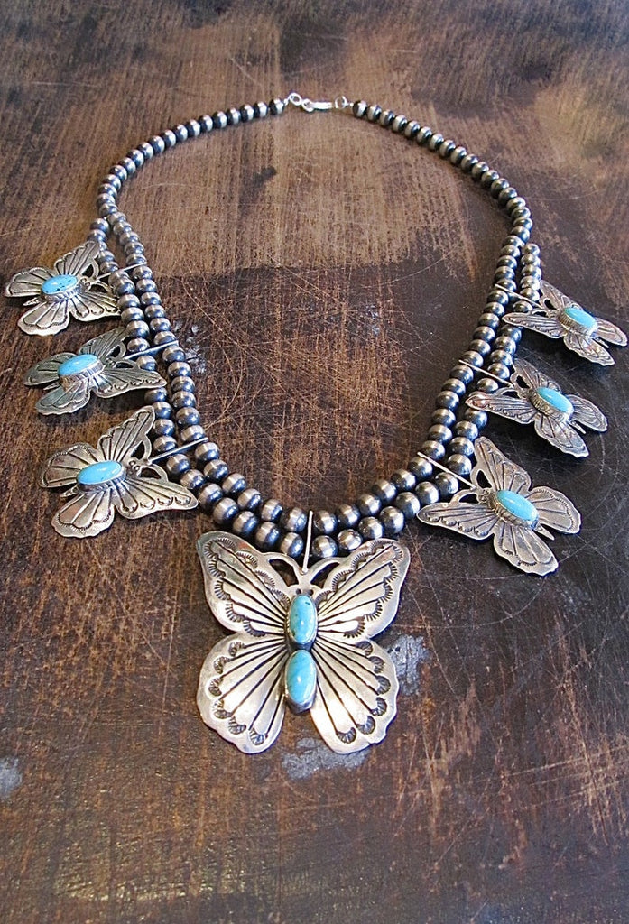 RUSSELL SAM Silver and Turquoise Navajo Butterfly Squash Blossom Necklace