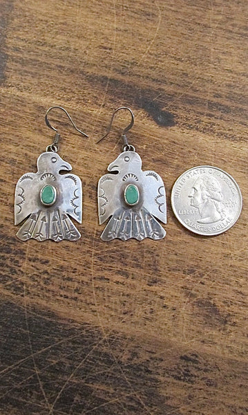 FRED HARVEY Vintage Silver & Turquoise Thunderbird Drop Earrings