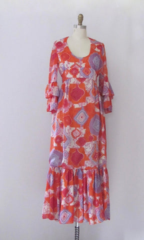 GRAPHIC APPEAL 1970s TRAINA Hippie Chic Boutique Maxi Dress, Size Small Medium