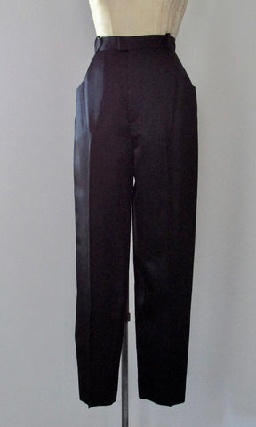 FANCY PANTS 1990s Yves Saint Laurent Rive Gauche Black Silk Satin Slim Cigarette Slacks, Size Medium
