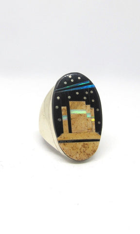 PUEBLO NIGHT SKY Gilbert Smith Men's Multi Inlay Statement Ring, Sz 11