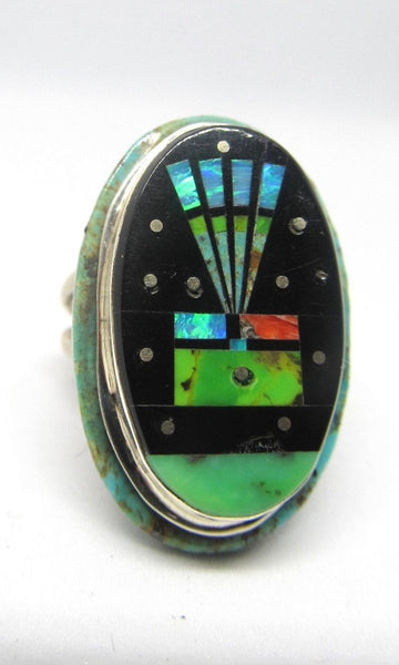 STARRY NIGHT Gilbert Smith Multi Inlay Yei Kachina Navajo Ring, Sz 10