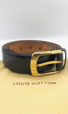 LOUIS VUITTON Mens Black Leather Belt w/ Brass Gold Tone Buckle, Sz 44