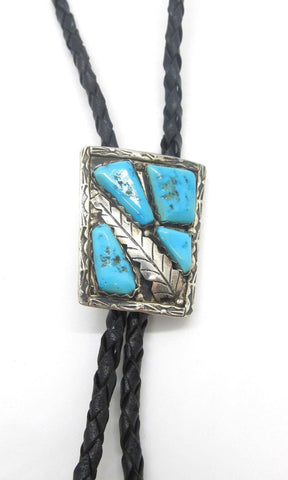 ALAN PENKETEWA 1970s Overlay Silver Feather Silver & Turquoise Bolo Tie