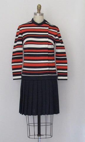 STRIPED ZONE 1960s Double Knit Mod Dress w/ Pleated Skirt by Butte Knit, Sz Small