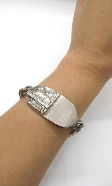 CHAIN REACTION Vintage Italian Sterling Silver Chain Link Sphinx Bracelet