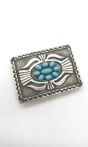BUCKLE UP Donovan Kinsel Sandcast Silver & Kingman Turquoise Belt Buckle