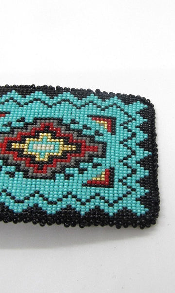 BEAD IT Leather Backed Beaded Belt Buckle