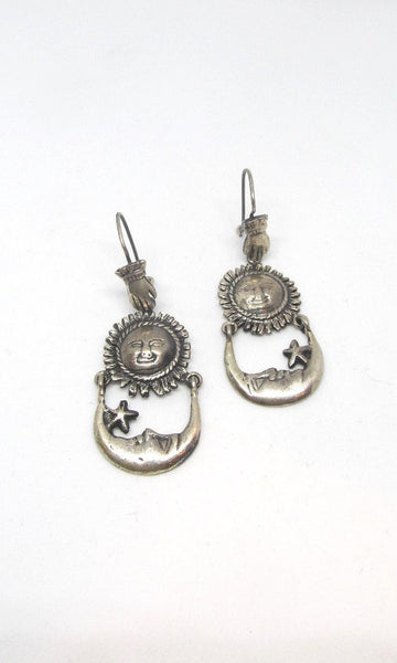 CELESTIAL BEINGS Mexican Sterling Sun, Moon, & Hand Earrings by Federico Jimenez
