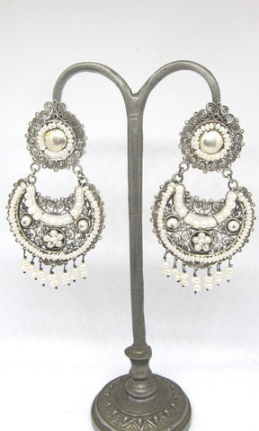 PEARL JAM Mexican Silver and Seed Pearl Large Chandelier Earrings