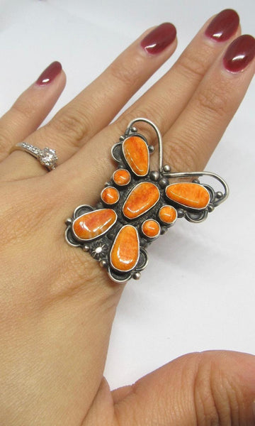 SOCIAL BUTTERFLY Navajo Spiny Oyster & Silver Statement Ring, Sz 7 1/2
