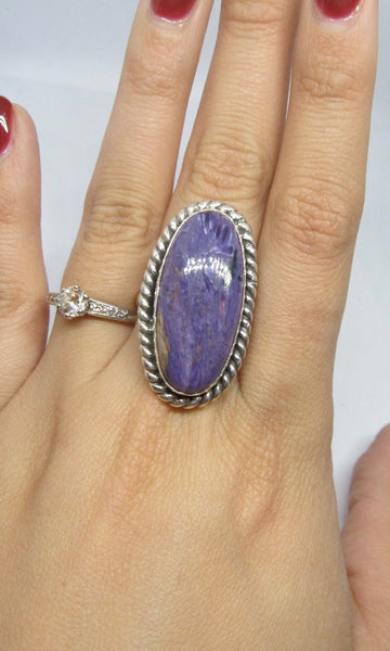 PURPLE REIGN Chimney Butte Large Charoite & Sterling Silver Statement Ring, Size 8 3/4