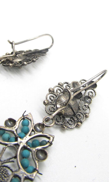 CHANEL YOUR INNER FRIDA Silver & Seed Bead Turquoise Mexican Earrings