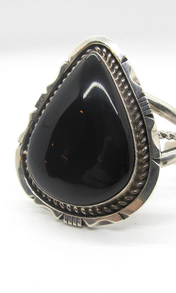 BLACK GOLD Navajo Sterling Silver and Onyx Cuff