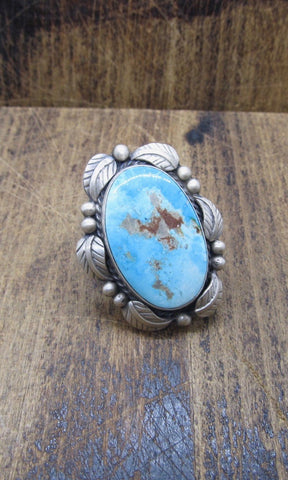 BETTA LEE Large Navajo Royston Turquoise and Silver Ring
