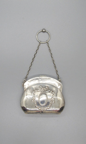 CHATELAINE PURSE Antique 1800s English Sterling Silver Bag, Lion (British), Anchor (Birmingham) h Hallmarks